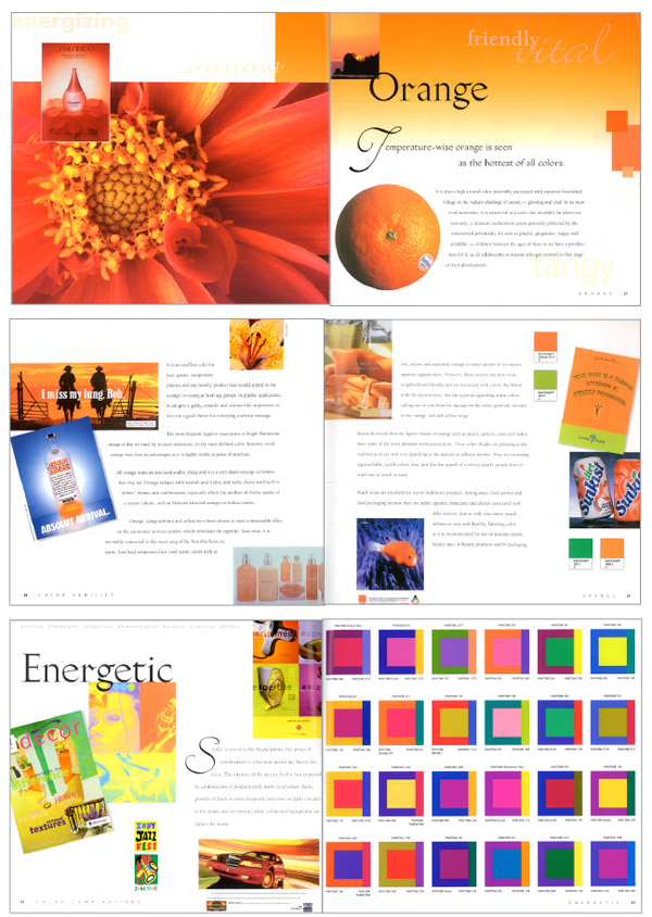 Three spreads from Communicating with Color