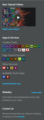 Adobe Creative Cloud Dock