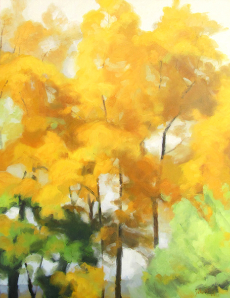 "Gold Trees, 36""x28"", oil on board"