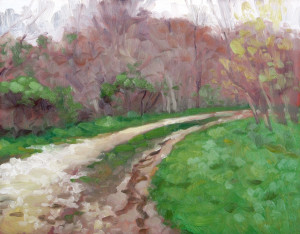 Rainy Path, oil on board