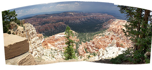 Bryce Canyon National Park in Utah takes on an other-worldly landscape, captured here in 11 different photos. I walked away from the computer for a couple of hours while Photoshop's Photomerge toiled away. The composite yielded a file nearly a gigabyte in size with a remarkable amount of detail. The sweeping landscape's curved edges may bother some, but, in my opinion they add to the drama.