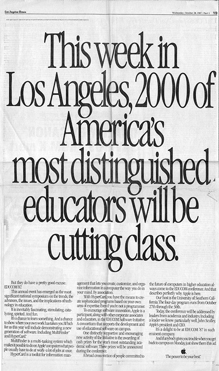 Apple, Inc. sponsored ad for Educom '87