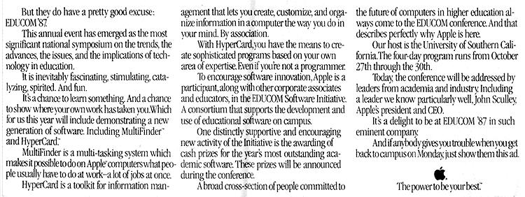 Apple, Inc. sponsored ad for Educom '87
