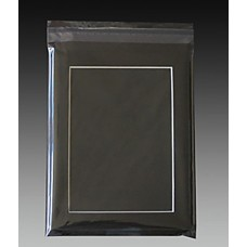5x7 Black Mat with White Core, Back and Bag Combo - 4x6 Window