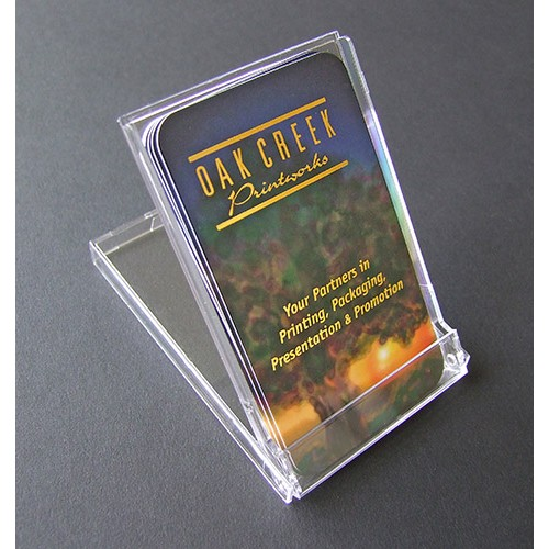 Clear Acrylic Business Card Flip Up Stand Case