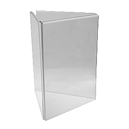 Triangular 3 Panel Clear Acrylic Table Tent Card Frame
